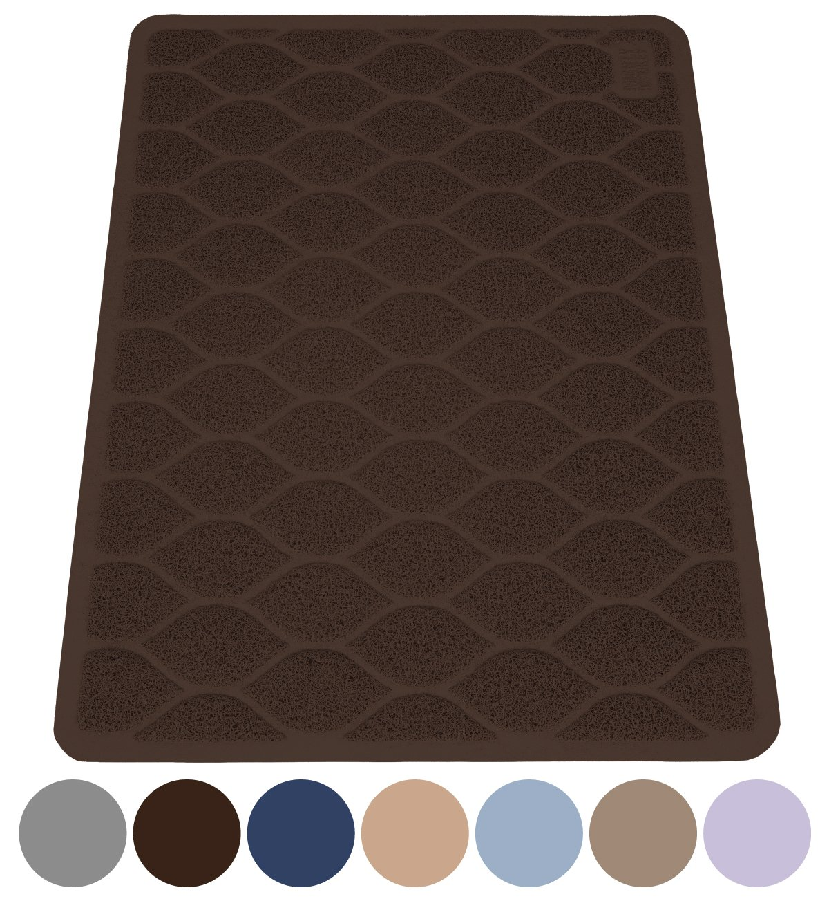 MIGHTY MONKEY Premium Cat Litter Trapping Mats, Phthalate Free, Best Scatter Control, Jumbo XL Sizes (35'' x 23''), Mat Traps Litter, Easy to Clean, Soft on Kitty Paws (Mocha)