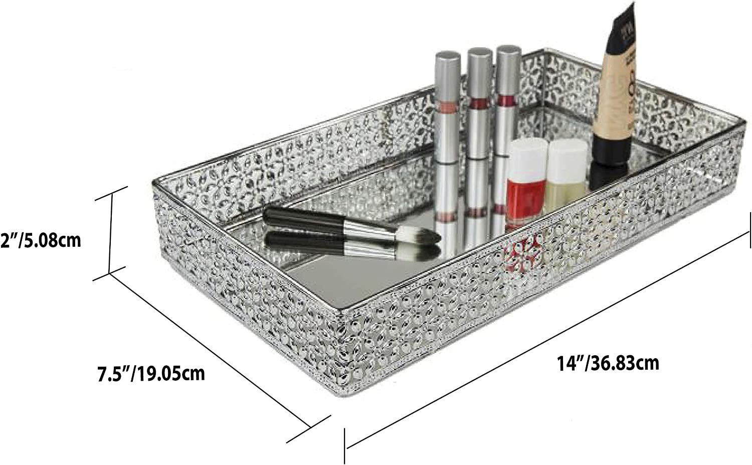 Home Basics Chrome Vanity Tray with Mirror Base Plate Floral Mesh Silver