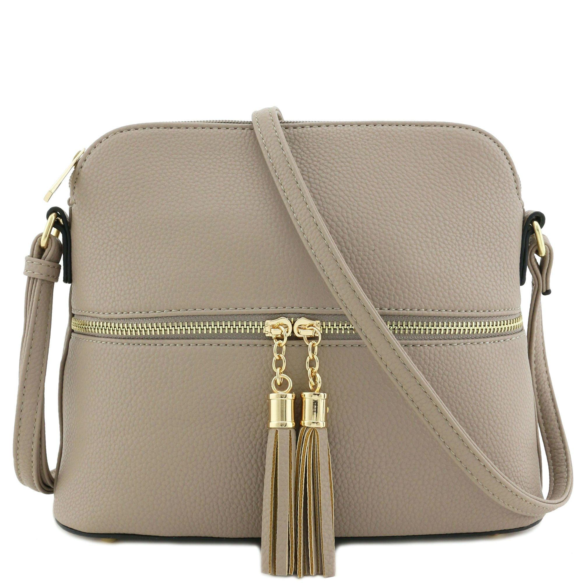 Tassel Zipper Pocket Crossbody Bag (Khaki)