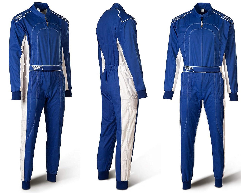 L Bi-Couleur Bleu avec Blanc- Karting Suit Speed Kart Combination
