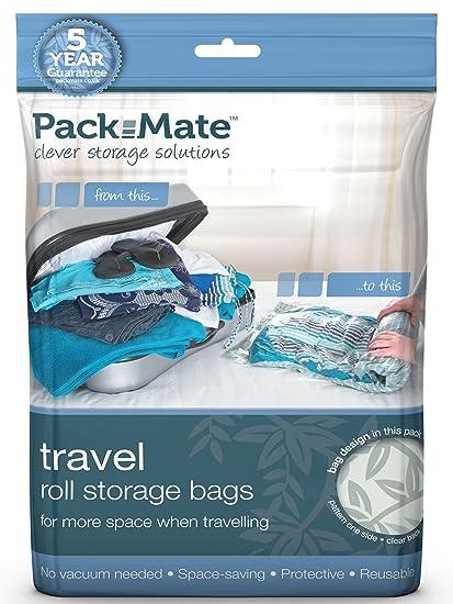 Packmate ® - x5 Mediano bolsas enrollables para almacenaje comprimido - Para vacaciones, viajes, maletas grandes y mochilas