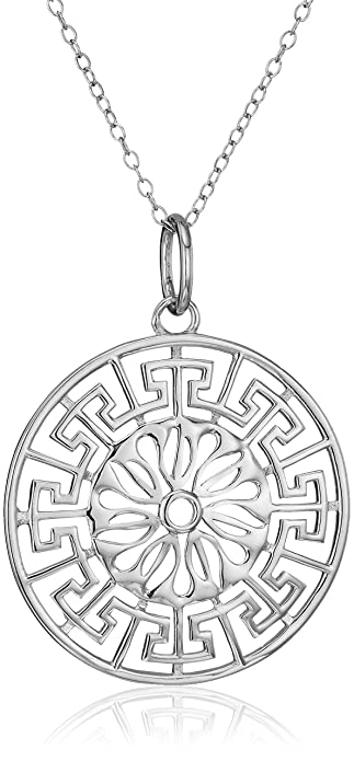 Amazon sterling silver greek key medallion pendant necklace sterling silver greek key medallion pendant necklace aloadofball Choice Image