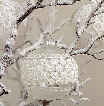 Amazon.de: Dekoration Kugel Shabby Chic Weihnachtsbaum Spitze weiß ...