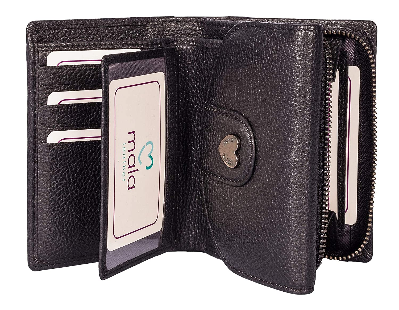 Mala Leather, Damen Damen-Geldbörse Schwarz Schwarz M B07P88B45W Geldbrsen
