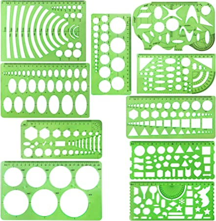 ibaye 11 Pieces Geometric Drawing Template Measuring Ruler Transparent Green Plastic Multifunctional Rulers for Drawing Designing Studying Building