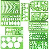 10 peças de moldes de plástico verde para moldes de medição de réguas geométricas para materiais escolares e de escritório