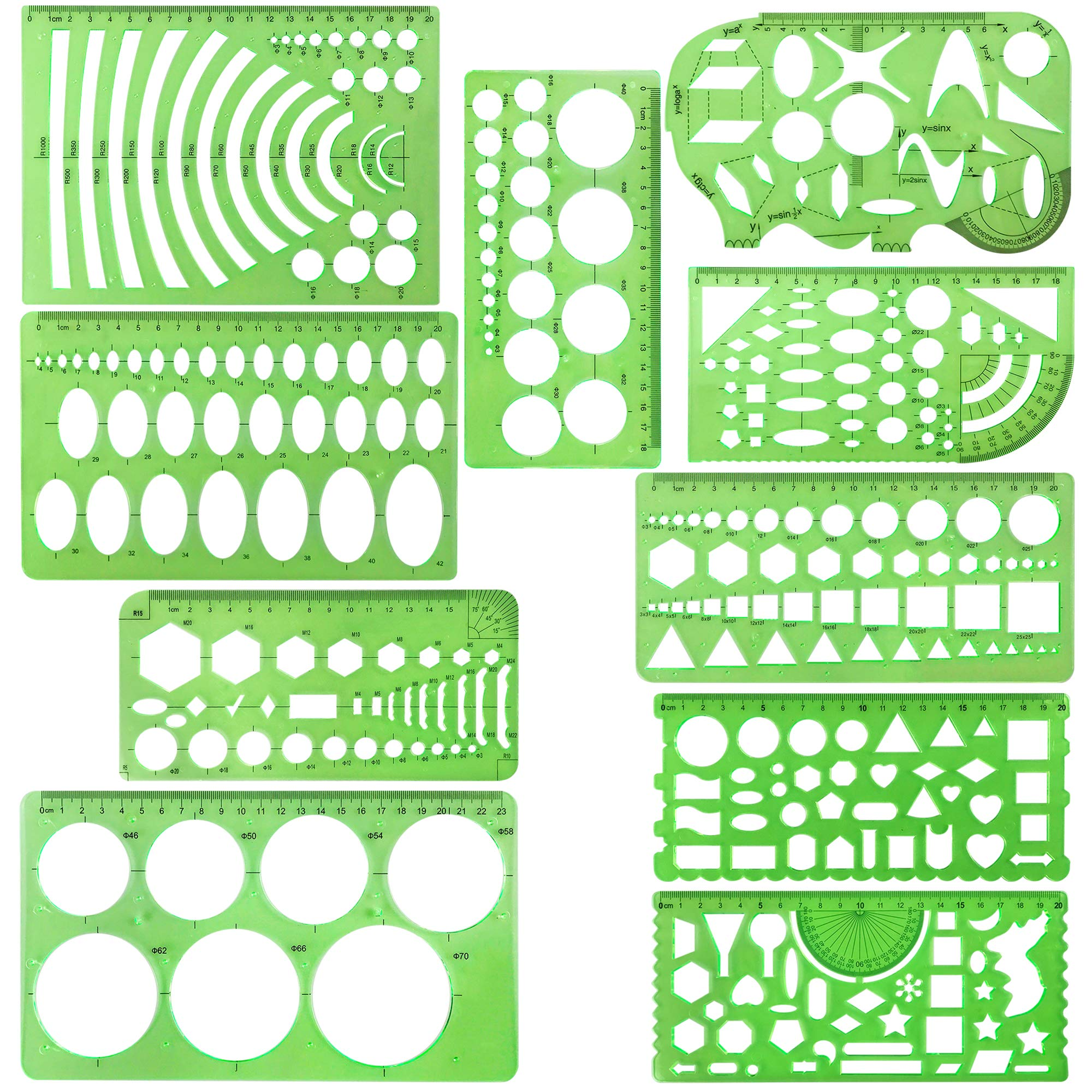 10 Pieces Green Plastic Drawings Templates Measuring Templates Geometric Rulers for School and Office Supplies by Lemimo