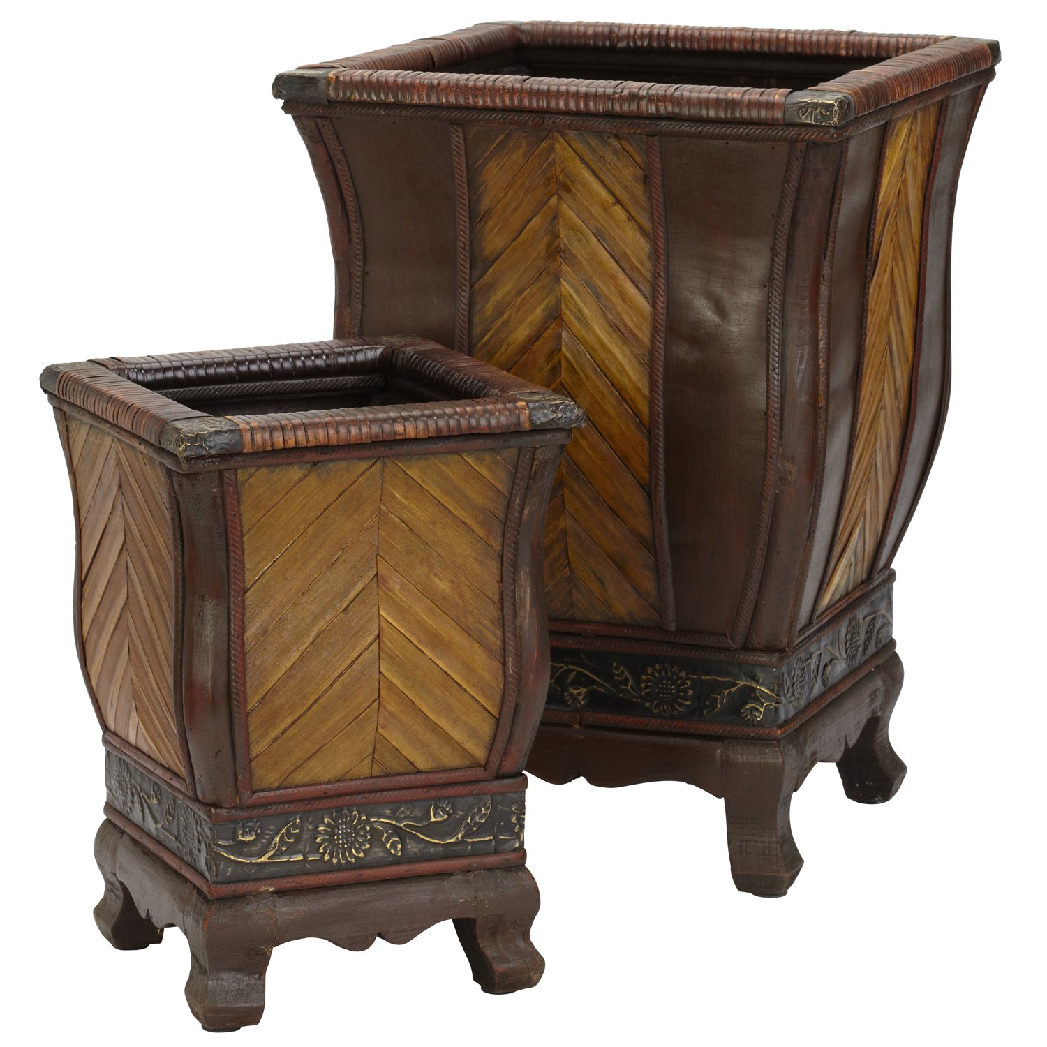Nearly Natural 521 Decorative Wood Planters, Brown, Set of 2