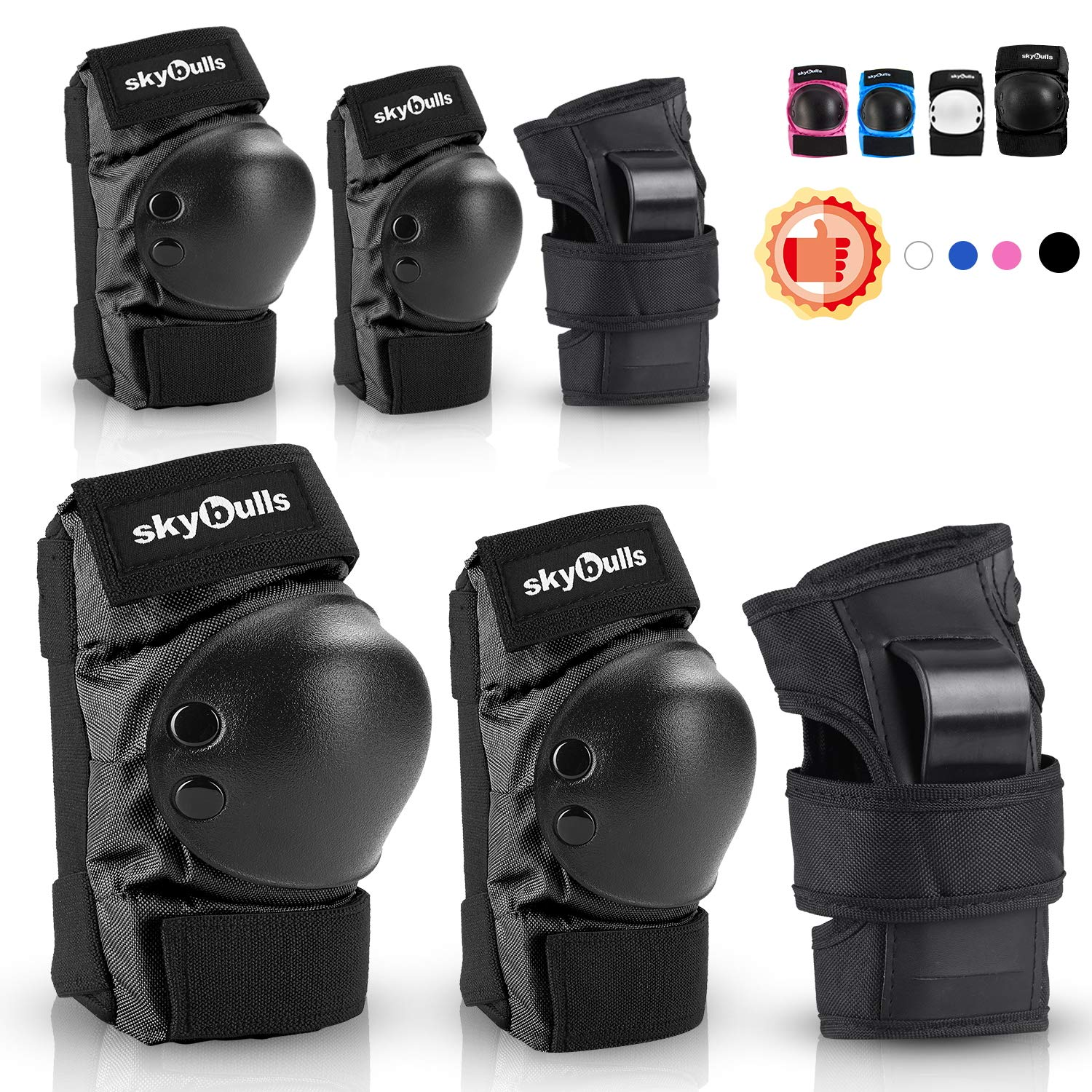 Kids Knee Pads Elbow Pads Wrist Guards, Child Toddler adjustable Protective Gear 6 in 1 Set for Skateboard Bike Cycling Skating Electric-Scooter Roller Inline Skating BMX Bicycle Rollerblading Sports