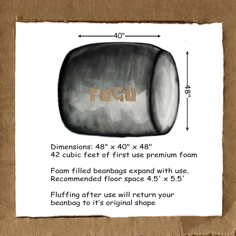 FUGU Bean Bag Chair Protective Liner Plus Removable Machine Wash Grey Cover Premium Foam Filled 3 XL