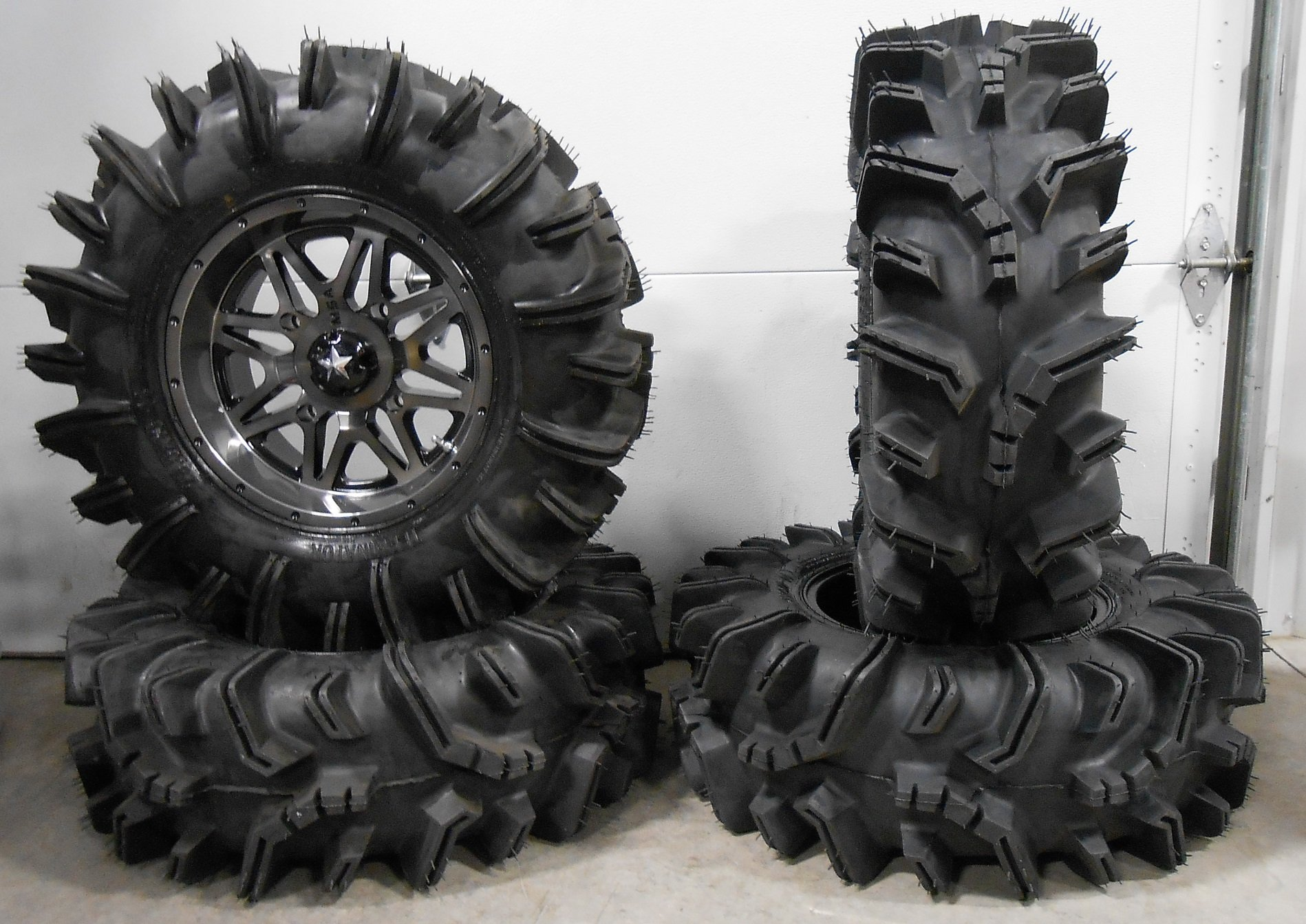 Bundle - 9 Items: MSA Dark Tint Vibe 14'' ATV Wheels 29.5'' Terminator Tires [4x156 Bolt Pattern 12mmx1.5 Lug Kit]