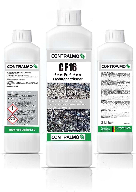 Contralmo - CF16 Profi Flechtenentferner Moosentferner Pilzentferner mit Langzeitschutz für Außenbereich - ideal für Pflastersteine Dachziegel (1 Liter)