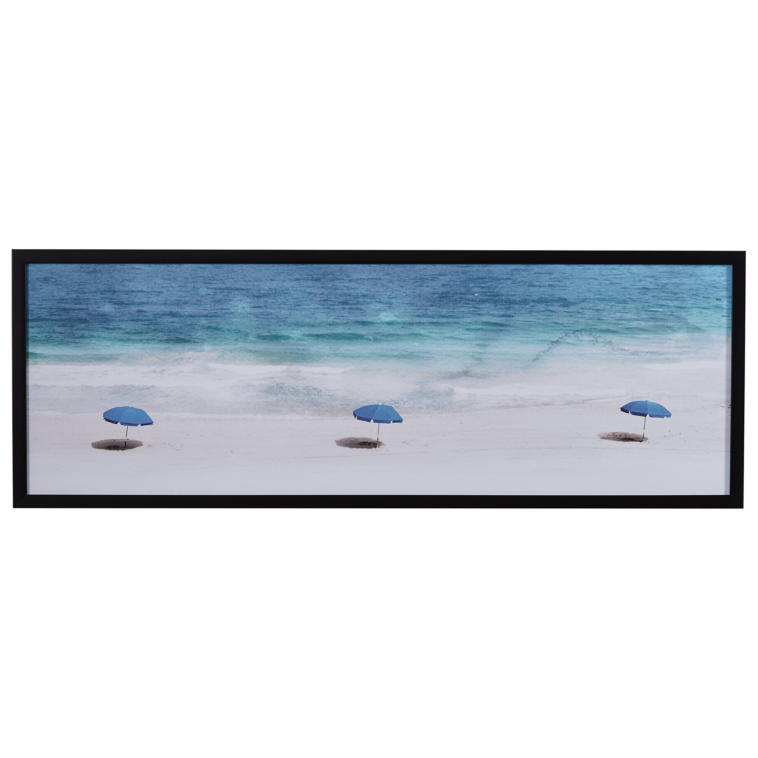 Modern Blue Umbrellas on Sand Print in Black Wood Frame, 62'' x 22'' by Stone & Beam