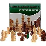 Aquamarine Games- Piezas DE AJEDREZ STAUTON 4, Color Beige y Marron Oscuro, Miscelanea (CP029A)