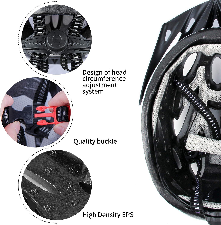 Miovatty Casco Bicicleta Unisex Adulto Unisexo Ajustable 57-63 cm con Visera y Forro Desmontable Especializado para Ciclismo de Monta/ña Motocicleta