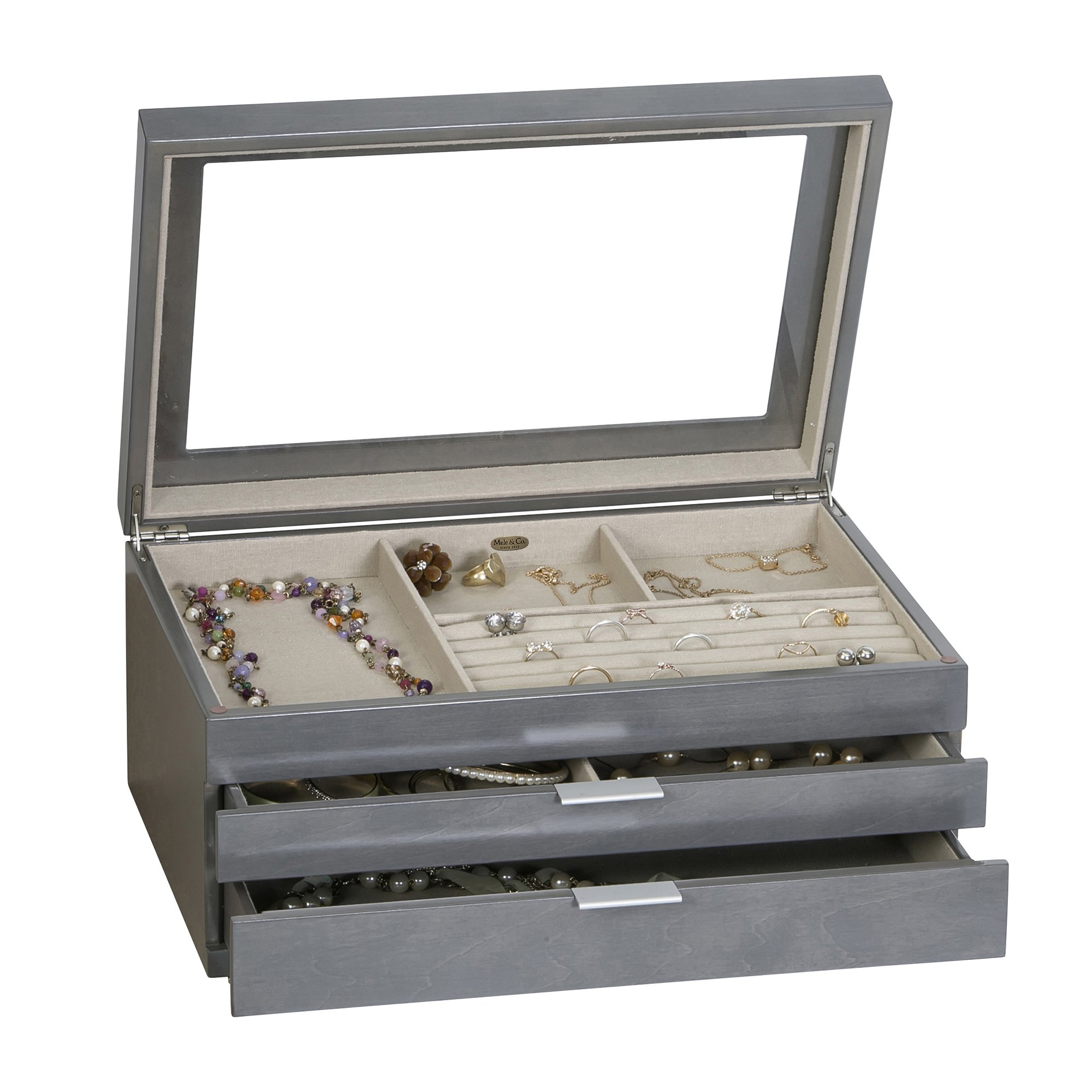 Mele & Co. Misty Glass Top Wooden Jewelry Box (Oceanside Grey Finish) by Mele & Co. (Image #2)
