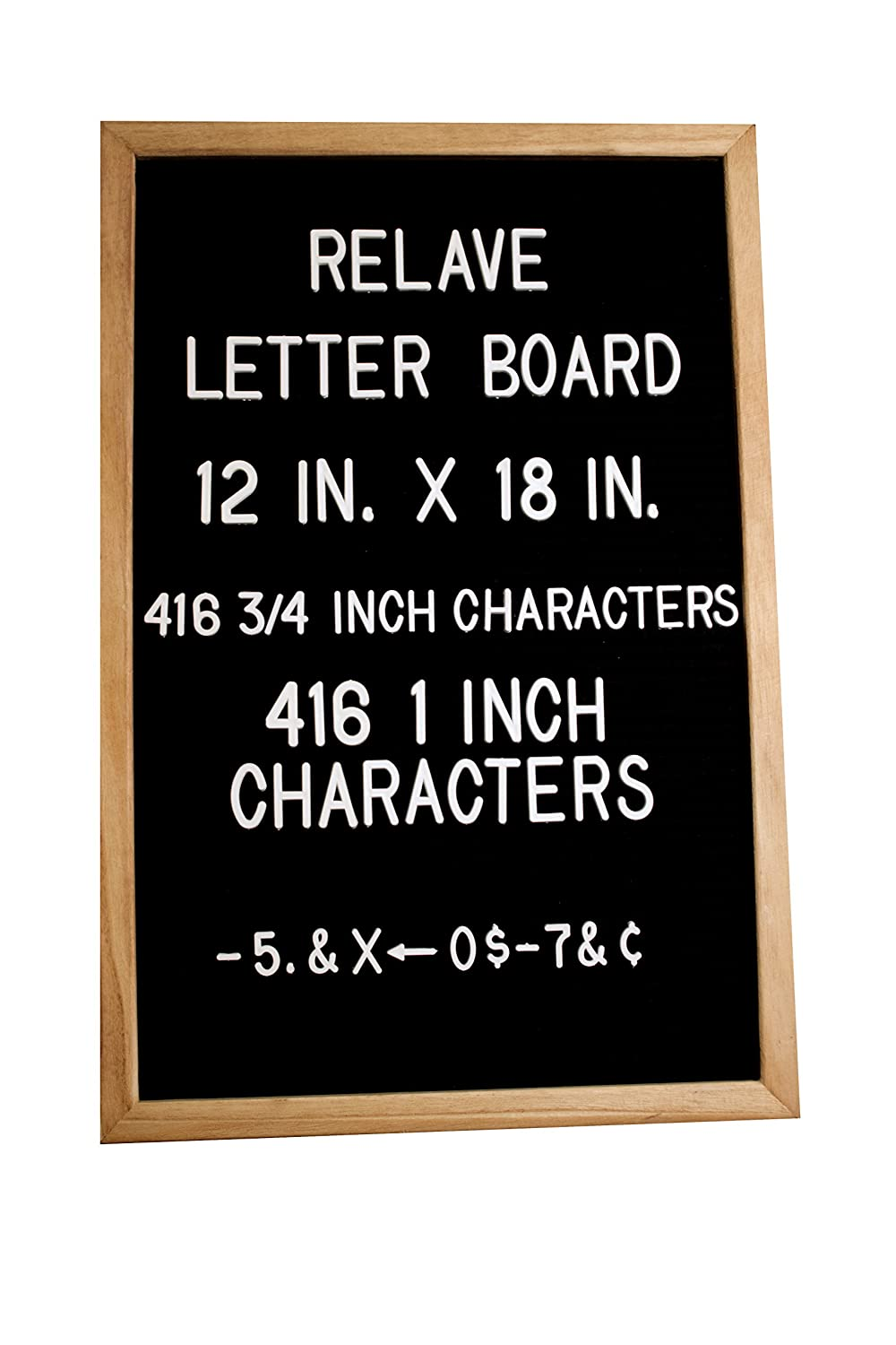 Changeable Black Felt Letter Board by Relave- 12 x 18, Natural Oak Wooden Frame, 416 3/4 and 416 1 White Letters, Great For Any Occasion