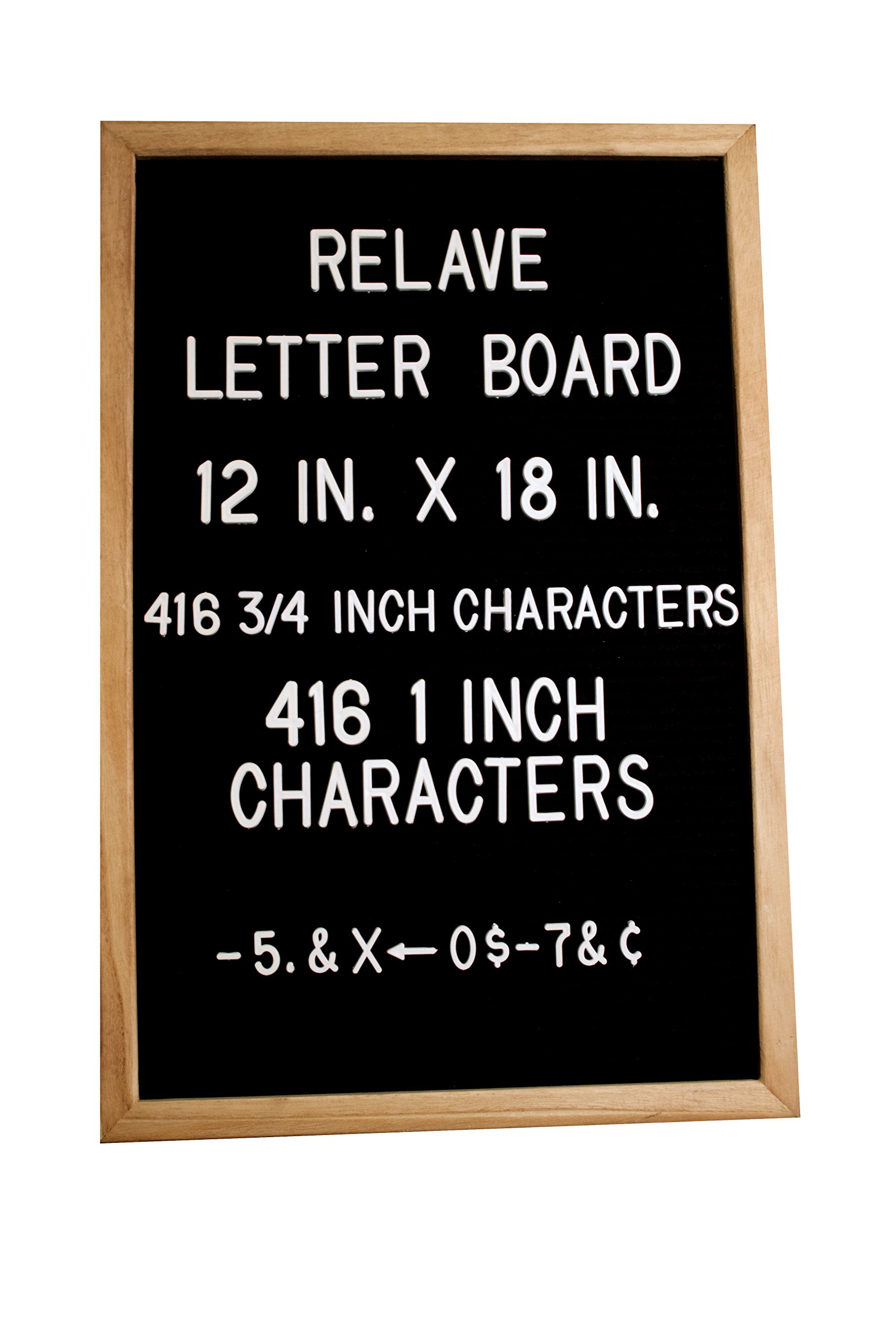 Changeable Black Felt Letter Board by Relave- 12'' x 18'', Natural Oak Wooden Frame, 416 3/4'' and 416 1'' White Letters, Great For Any Occasion