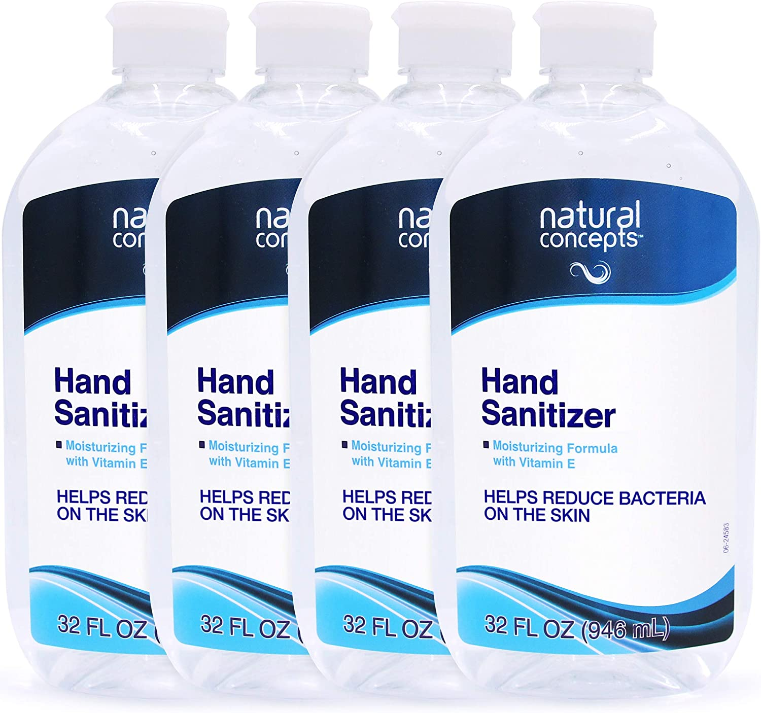 Natural Concepts Hand Sanitizer Gel, Value Pack of 4, 32 oz Bottles, 65% Ethyl Alcohol with Vitamin E, Protects Against Germs On-The-Go: Health & Personal Care