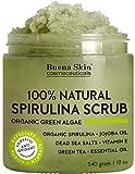 Anti fungal Acne Treatment Spirulina Body Scrub by Buena Skin | 100% Natural, Antibacterial with Green Algae, Dead Sea Salts and Vitamin E 12 oz.