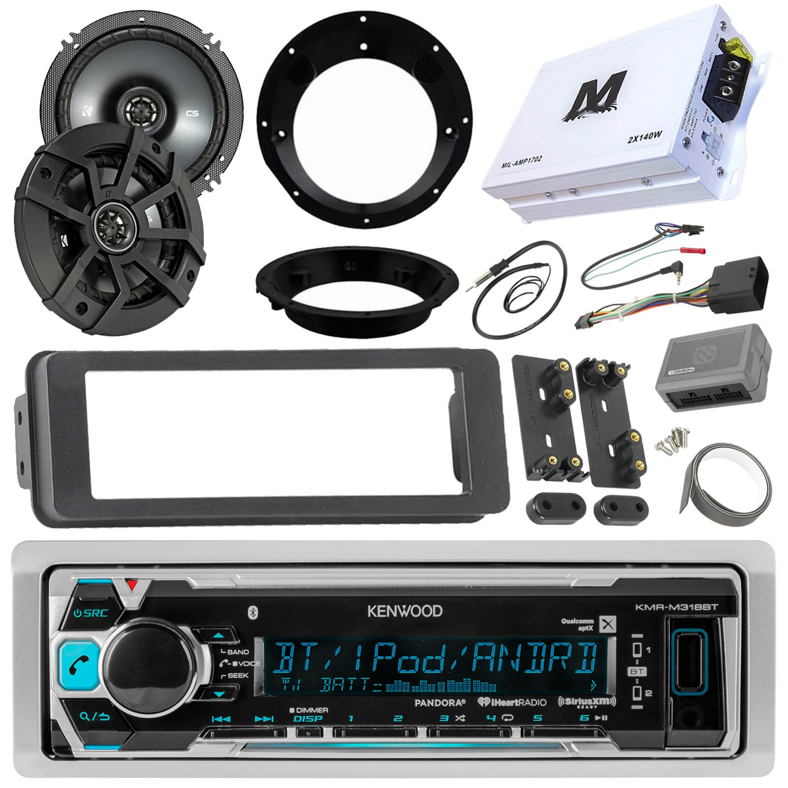 Pyle Marine Receiver Speaker Kit 2 Channel Amplifier W 65 Plmrkt2a And Waterproof Vehicle Amplifiers On The Speakers