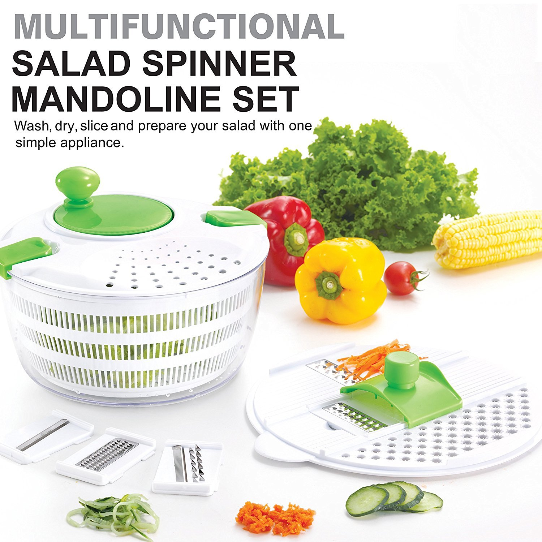 HUJI Multifunctional Large Salad Spinner and Mandoline Set - 5 Blade Slicer, Drainer, Tosser, Vegetable Dryer with a Pouring Spout - 2PK by Huji