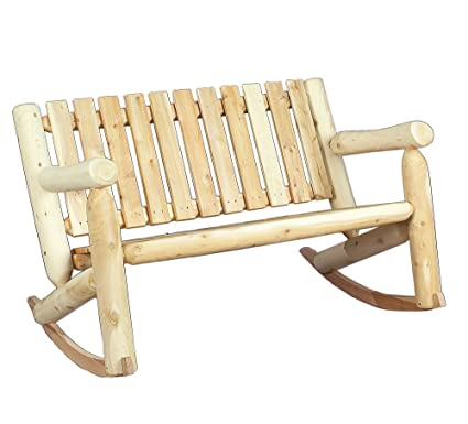 Genial Cedarlooks 010006A Log Double Rocking Bench