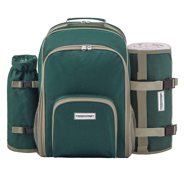 *anndora Picknickrucksack Rucksack + 11 TLG. Zubehör f. 2 Personen + Picknickdecke – grün*