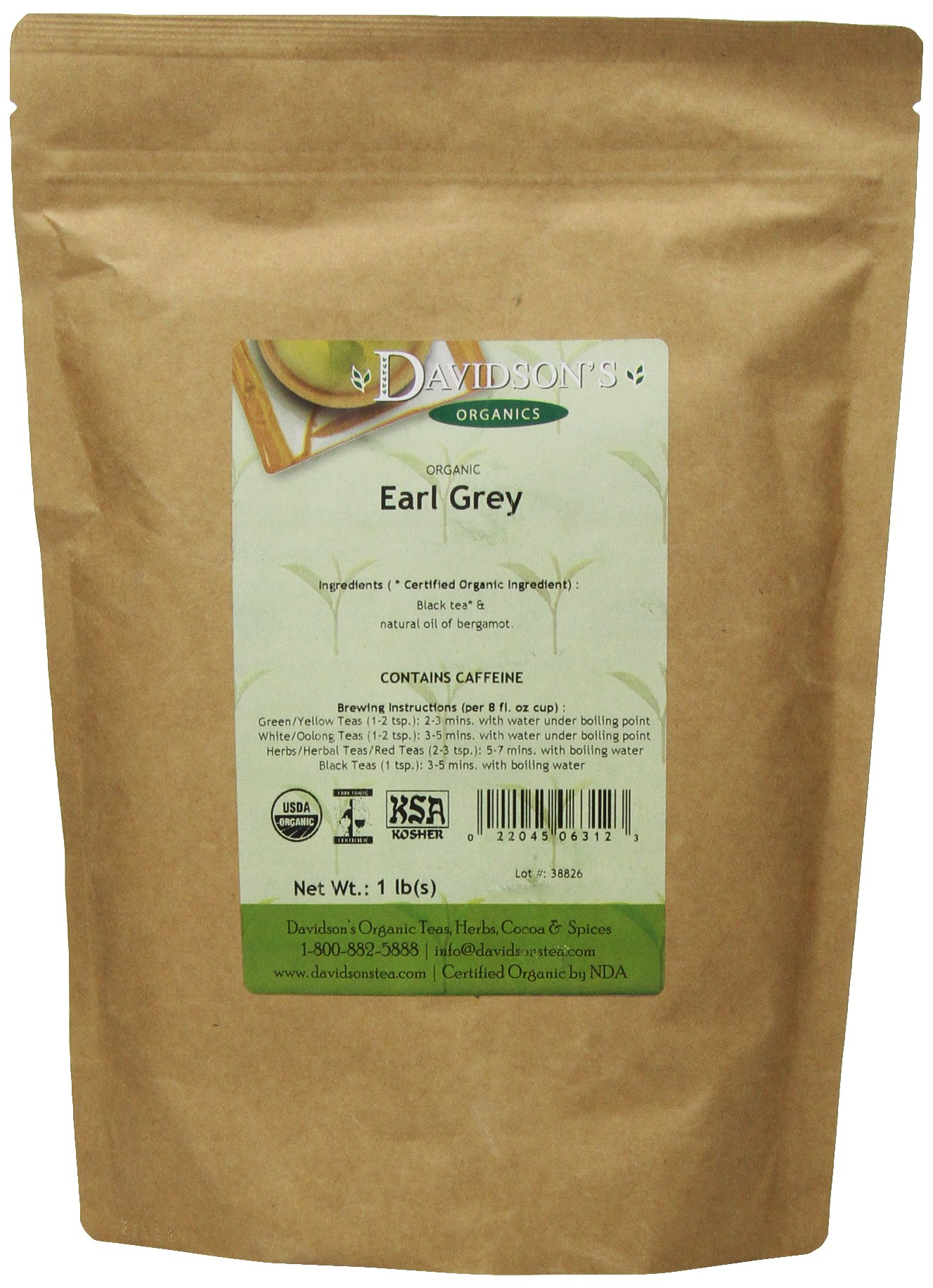 Davidson's Tea Bulk, Earl Grey, 16-Ounce Bag