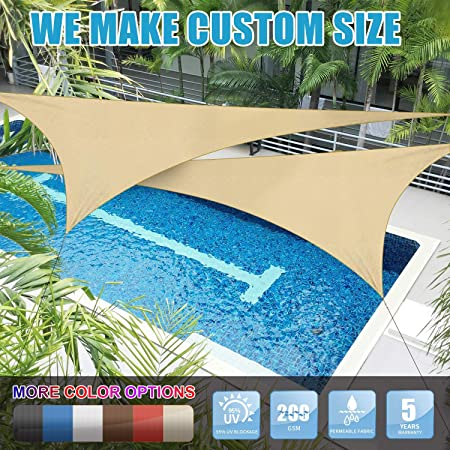 Amgo Custom Size 10 x 10 x 10 Beige Triangle Sun Shade Sail Canopy Awning, 95 UV Blockage, Water Air Permeable, Commercial and Residential Available for Custom Sizes