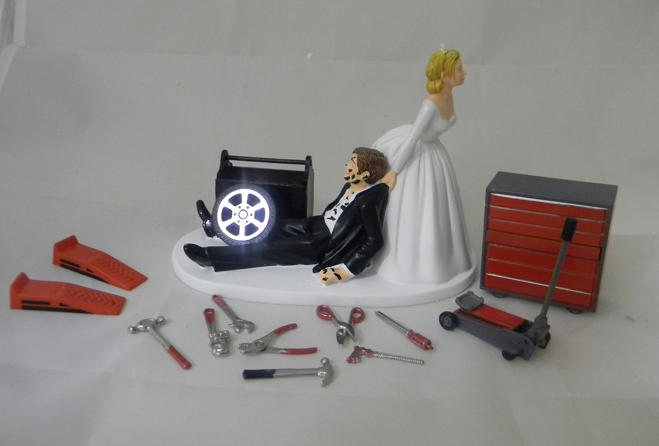 Wedding Reception Party Shop Garage Mechanic tool grease Cake Topper by Custom Design Wedding Supplies by Suzanne