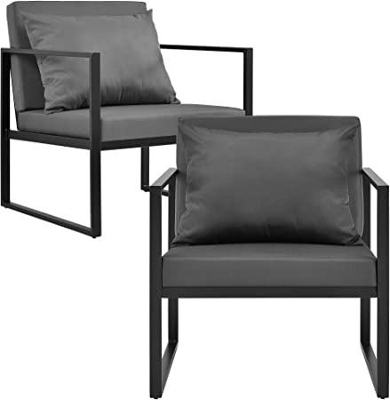 casa.pro]® 2 x sillón silla de jardín 70 x 60 x 60 cm set de 2 mueble de jardín para exterior negro: Amazon.es: Hogar