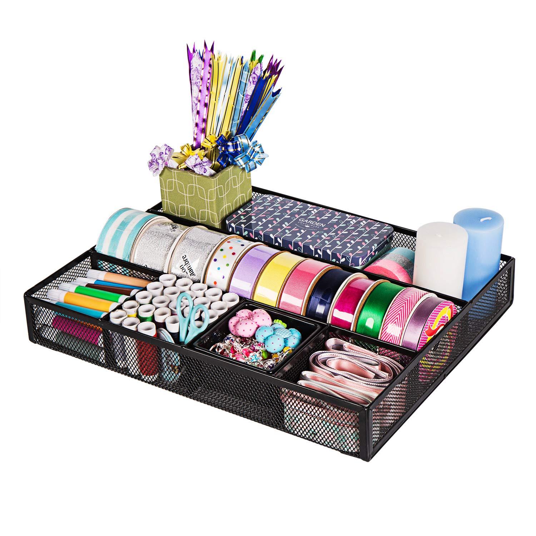 DESIGNA Mesh Desk Supplies Organizer, Desk Drawer Organizer (Size: 15'' x 12'' x 2.3'')