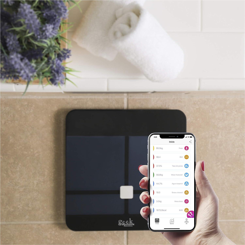 Báscula Inteligente Digital Bluetooth De Alta Calidad Mide Grasa Corporal y Visceral, Hidratación, Masa Coporal, Muscular y Osea, Metabolismo Basal App Para ...