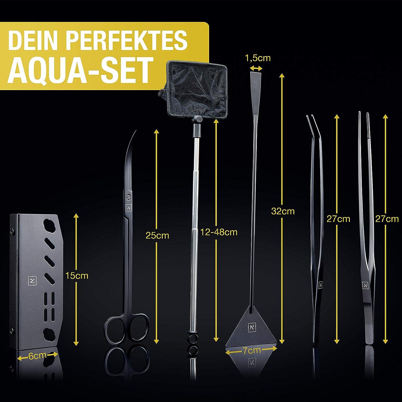 incl. forbici, pinzetta, retino I test del pH: strumento per acquari di alta qualit/à, set completo per la cura dellacquario. Set Aquascaping NORANA