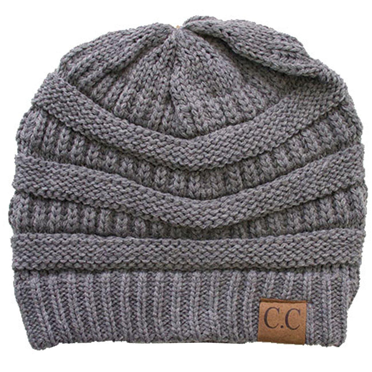 ScarvesMe CC Knit Fleece Fuzzy Lining Interior Thick Warm Beanie Skull Hat (Light Gray)