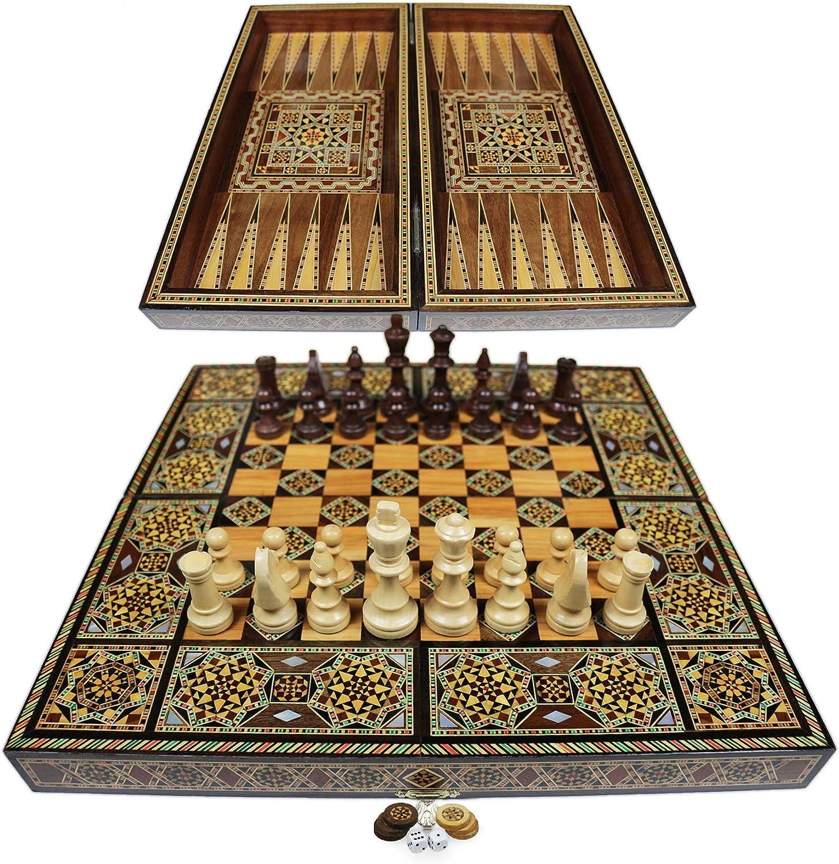 Original Intarsien Kunsthandwerk Handmade,Brett BK 401F mit 30 Holz Backgammon Steine und inkl 75 mm Holz Schach Figuren Elessar Neu 40 x 40 cm Holz Backgammon Tavla//Schachspiel//DAMA,Tavla