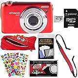 Polaroid iEX29 18MP 10x Digital Camera (Red) with 16GB Card + Case + Strap + Puffy Stickers + Kit