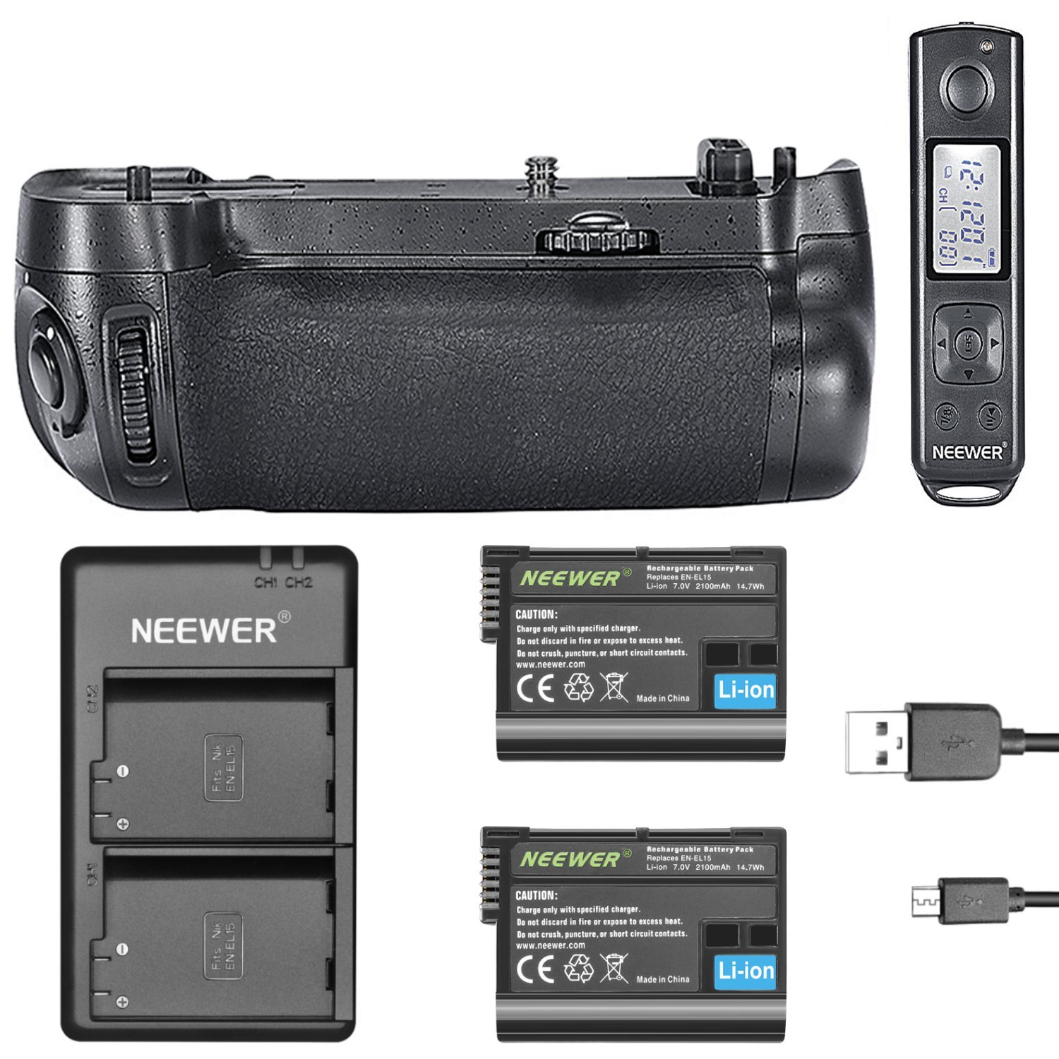 Neewer Battery Grip MB-D16 Replacement with Wireless LCD Display Remote Control, 2 Pieces 2100mAh EN-EL15 Replacement Li-ion Battery and USB Input Dual-Channel Battery Charger for Nikon D750 Camera