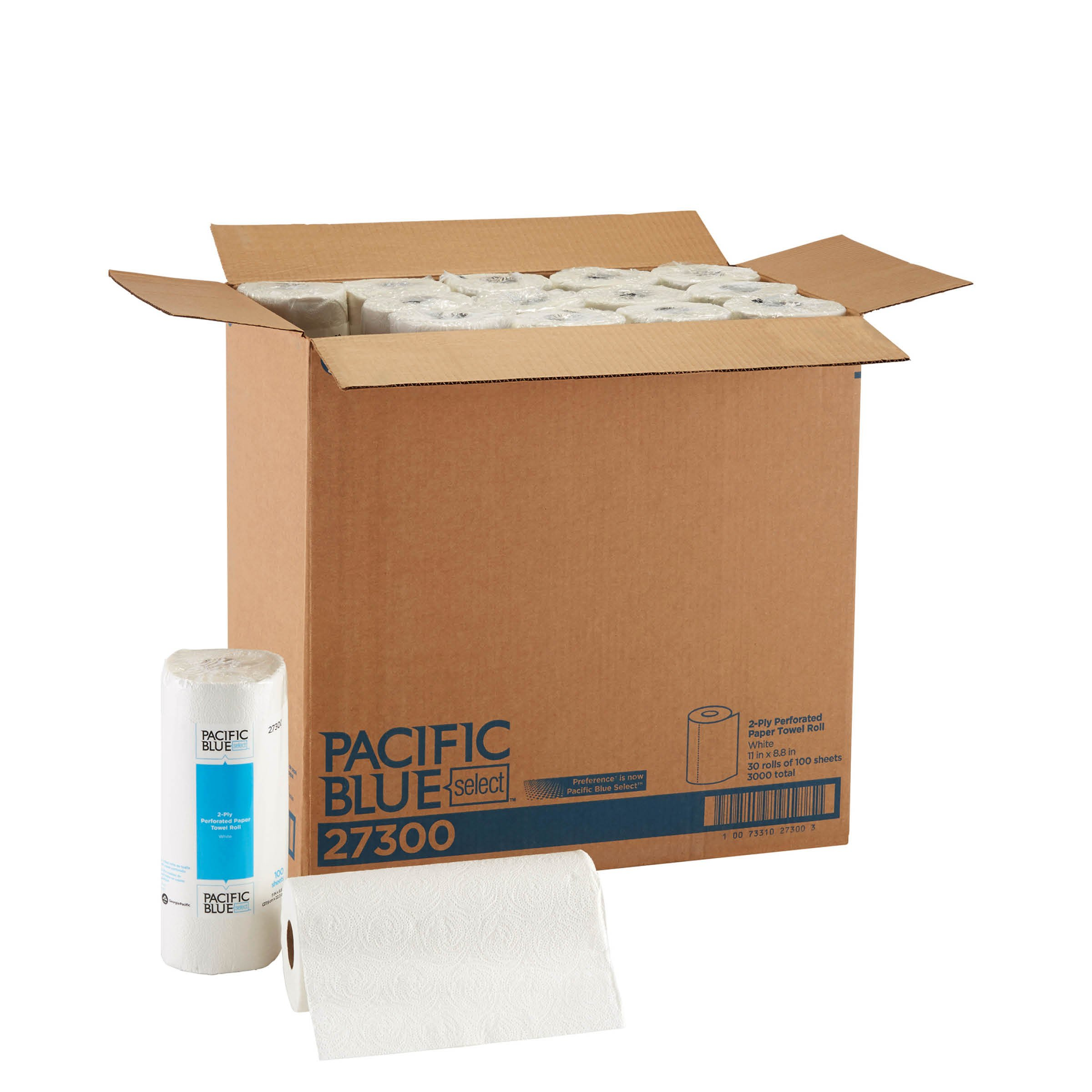Pacific Blue Select (Previously Branded Preference) 27300 White 2-ply Perforated Paper Towel Roll by GP PRO, (WxL) 11.000'' x 8.800'' (Case of 30 Rolls, 100 Towels per Roll)