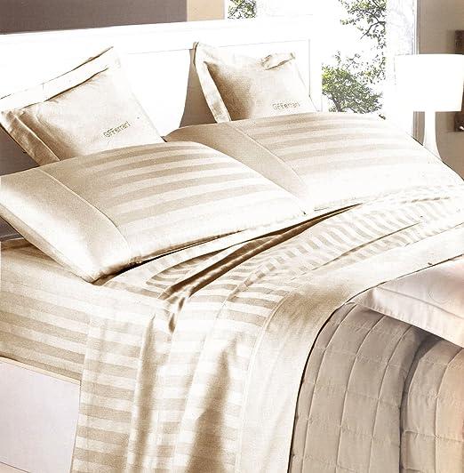 Completo sábanas matrimonio (satén de algodón puro Rigato Color Beige Crudo Riga 3 cm (sábana encimera 250 x 290, sábana bajera ajustable 180 x 200, fundas de almohada 50 x 80): Amazon.es: Hogar
