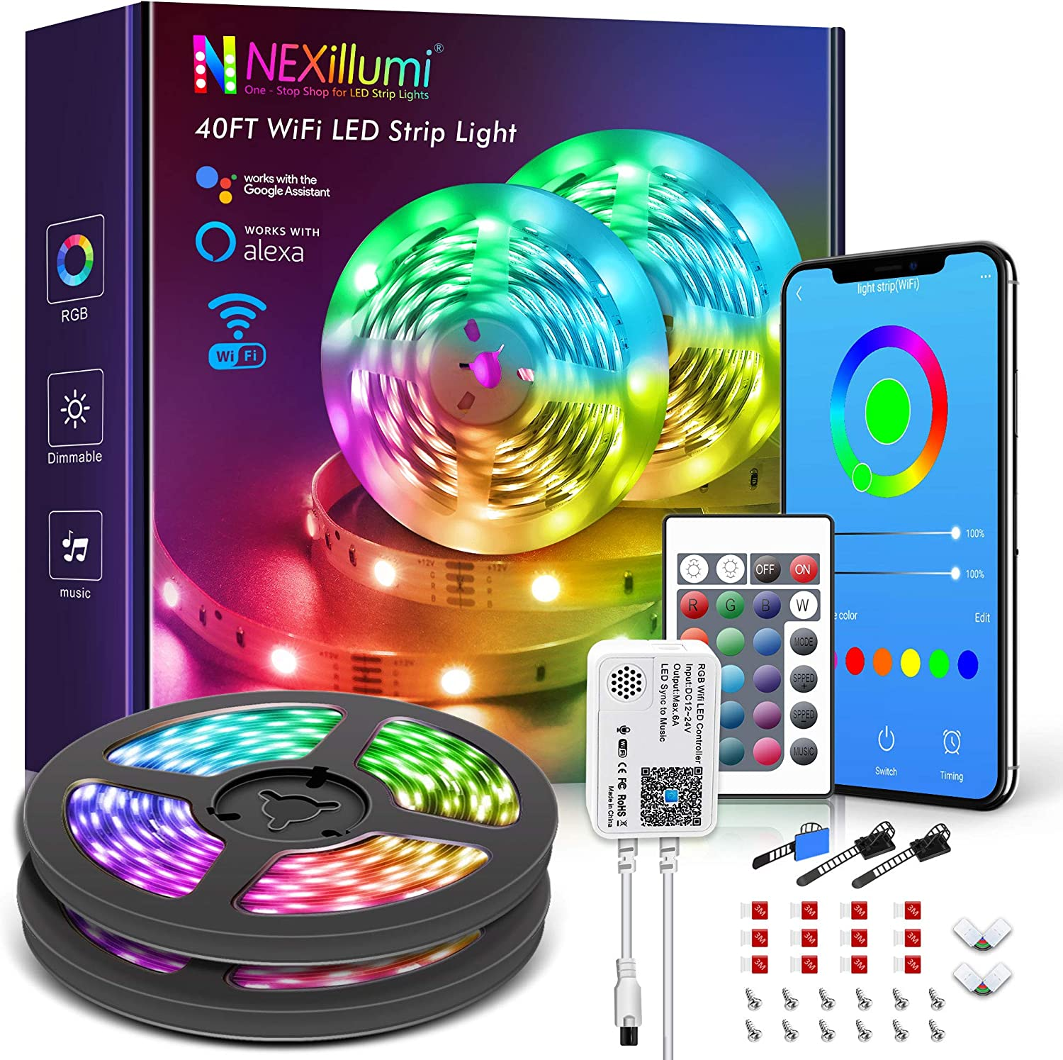 Nexillumi WiFi Smart Alexa-Enabled LED Lights for Bedroom 40 ft with Remote Music Sync 5050 RGB Flexible LED Strip Lights (40Ft WiFi+ Remote+ MIC Control)