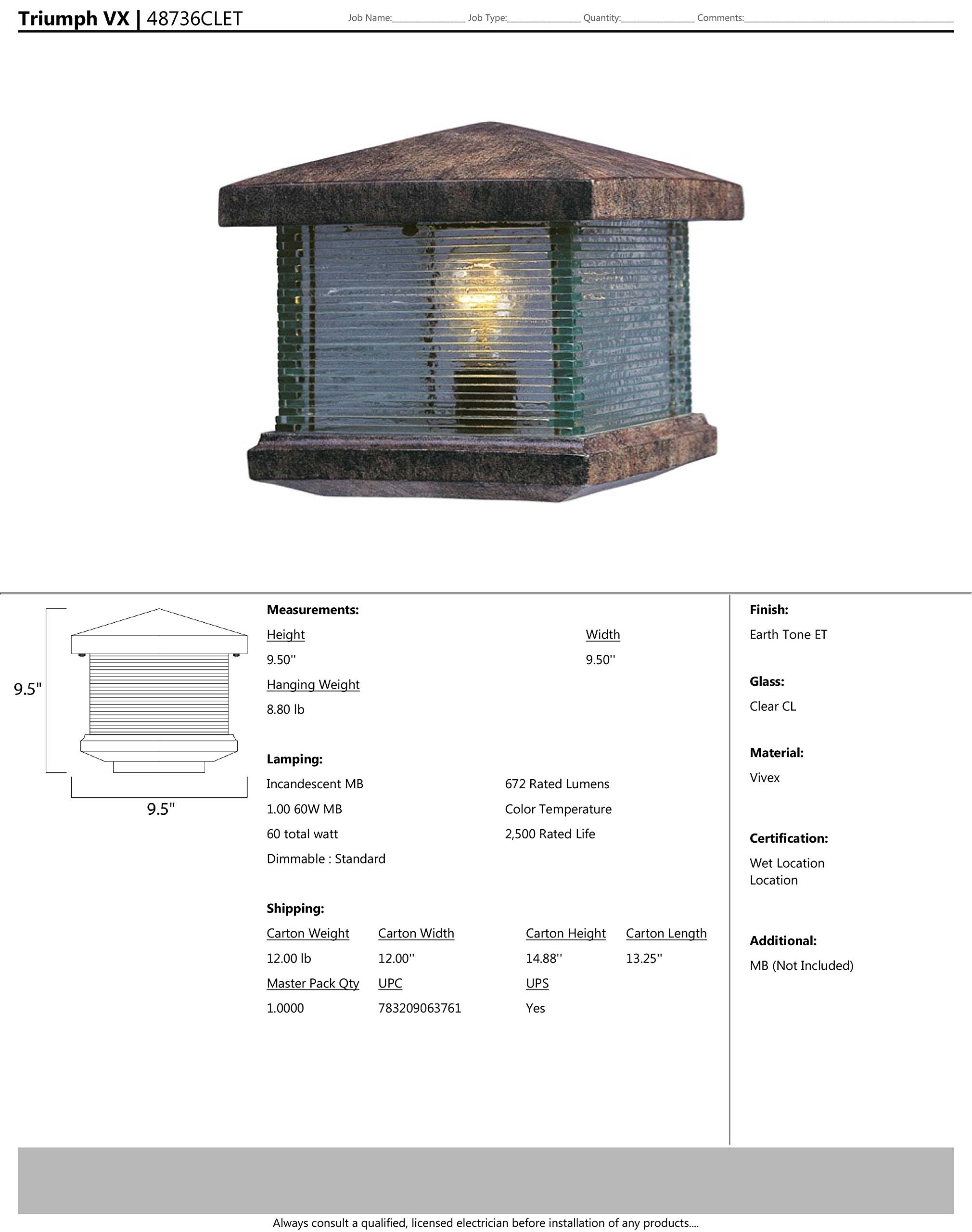 Maxim 48736CLET Triumph VX 1-Light Outdoor Deck Lantern, Earth Tone Finish, Clear Glass, MB Incandescent Incandescent Bulb , 40W Max., Dry Safety Rating, 2900K Color Temp, Standard Dimmable, Glass Shade Material, 4000 Rated Lumens - Finish: earth tone Glass finish: clear Bulb Type: MB incandescent - patio, outdoor-lights, outdoor-decor - 81ohwiZy5WL -