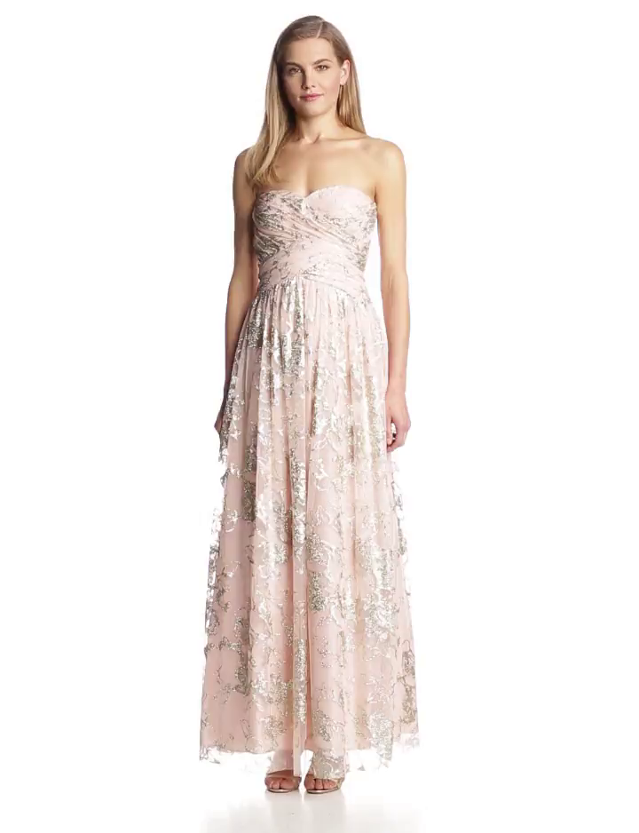 Hailey by Adrianna Papell Womens Strapless Glitter Gown