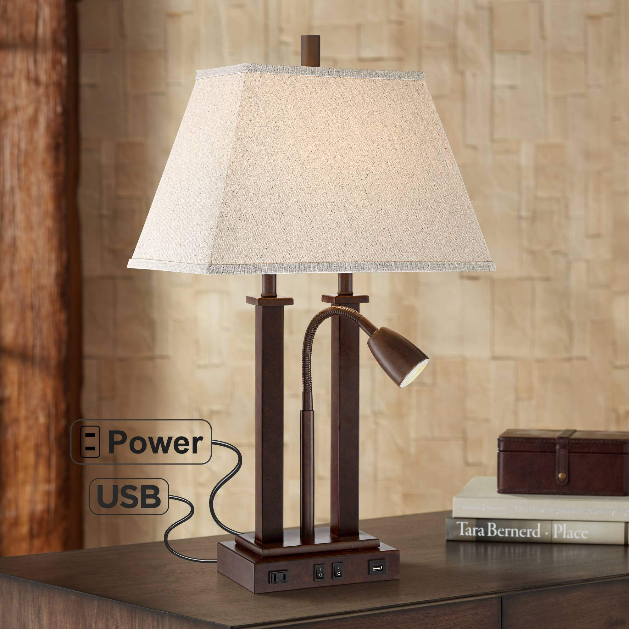 Deacon Bronze Gooseneck Desk Lamp with USB Port and Outlet - Possini Euro Design