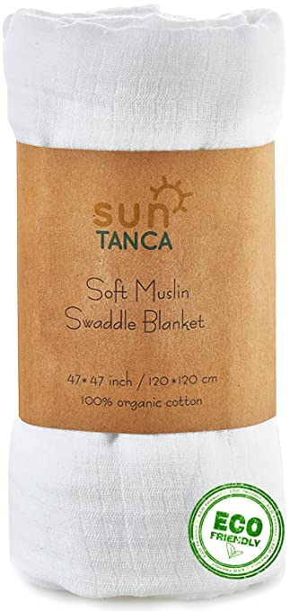 Amazon Com White Muslin Baby Swaddle Blanket 100 Organic Cotton