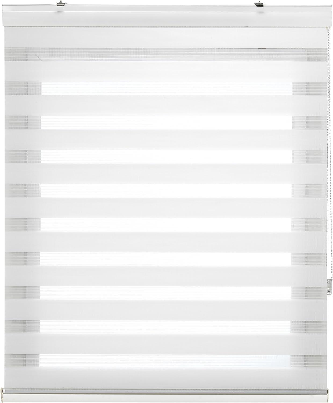 Blindecor Vela - Estor enrollable doble tejido, noche y día, color crema, 160 x 180 cm