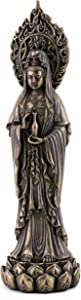 Top Collection Meditating Guan Yin Statue Standing on Lotus Pedestal- Kwan Yin Goddess of Mercy and Compassion Sculpture in Premium Cold Cast Bronze - 7.25-Inch Collectible Avalokiteshvara Figurine