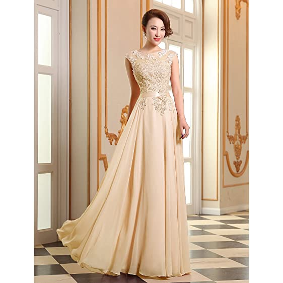 Womens Evening Appliques Dress Bridesmaid Chiffon Evening Gowns,Georgette with Appliques / Beading / Pearl