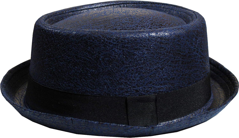 Designer Heisenberg Breaking Bad Cappello da Adulto Pork Pie Fedora Trilby in Pelle Sintetica Testurizzata in Molti Colori